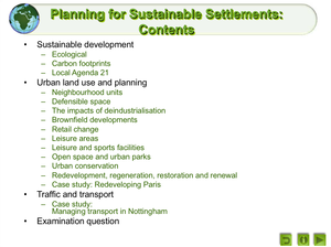 Planning For Sustainable Settlements
