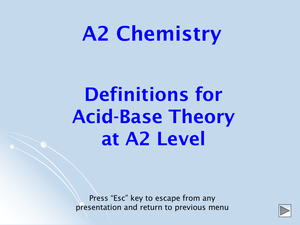 A2 Acid Base Definitions