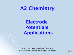 A2 Electrode Potentials Applications