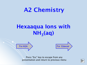 A2 Hexaaqua Ions With Nh3(Aq)