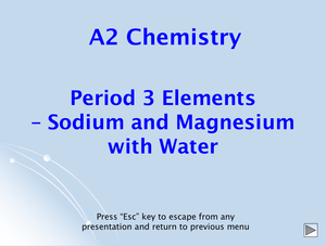 A2 Period 3 Elements With Water