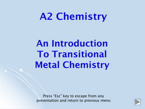 A2 Transition Metals Introduction
