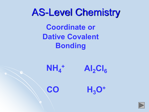 As Coordinate Or Dative Covalent Bonding
