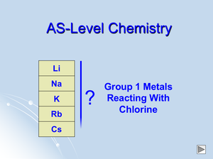 As Group 1 Metals Reacting With Chlorine