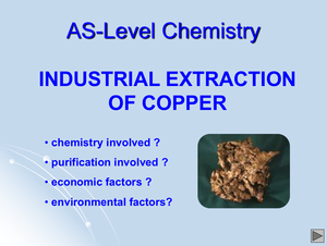 As Industrial Extraction Of Copper