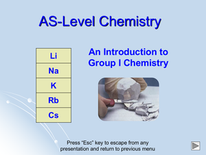 As Intro To Group I Chemistry