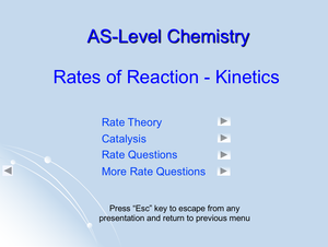 As Rates Of Reaction   Kinetics