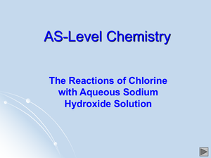 As Reactions Of Chlorine With Aqueous Sodium Hydroxide Solution