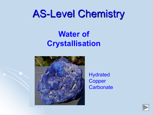 As Water Of Crystallisation