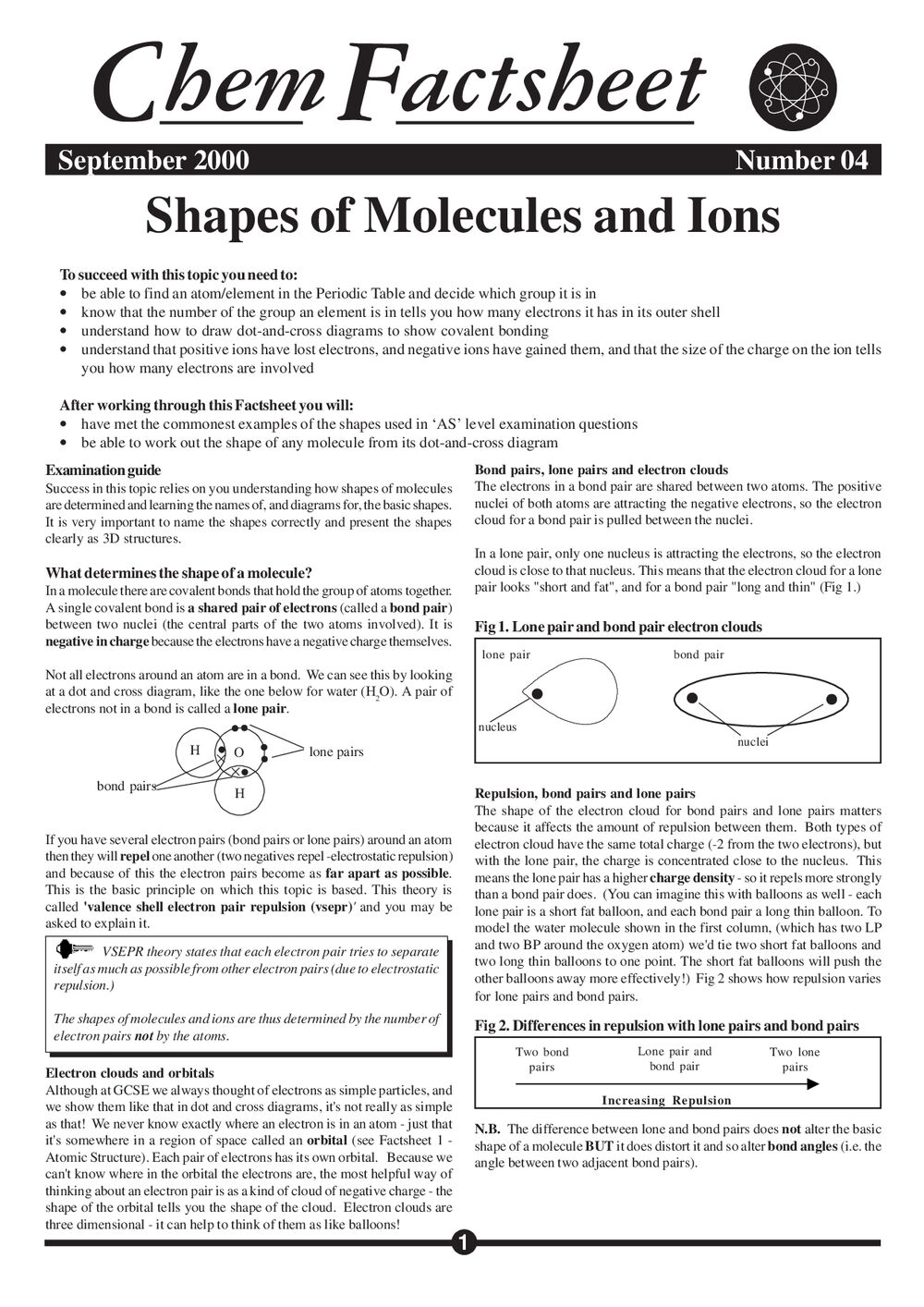 Shapes of Molecules and Ions - Curriculum Press