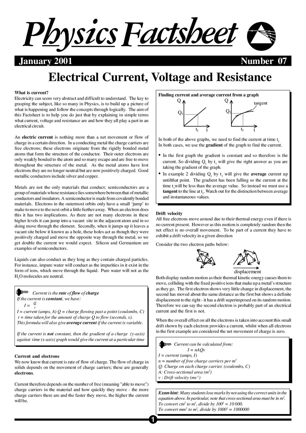 Electric Current, Voltage and Resistance - Curriculum Press