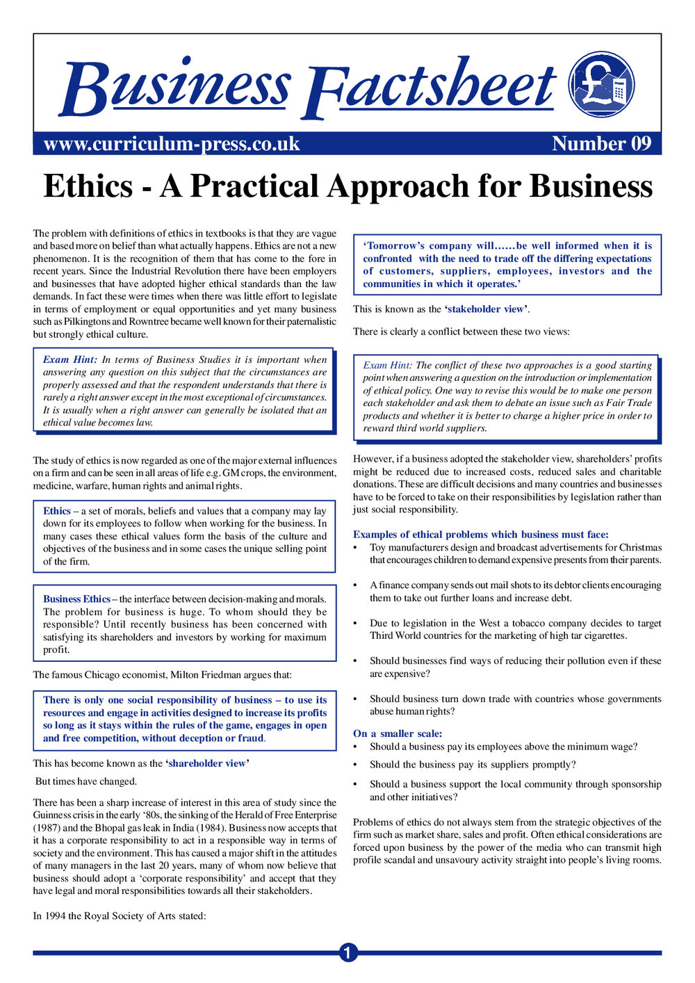 Ethics – A Practical Approach for Business - Curriculum Press