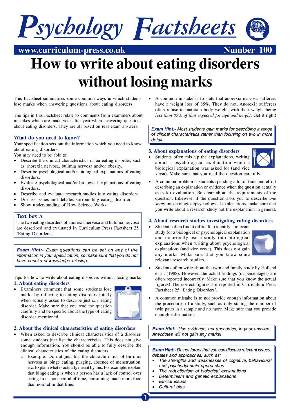 Curriculum Press - How to Write About Eating Disorders