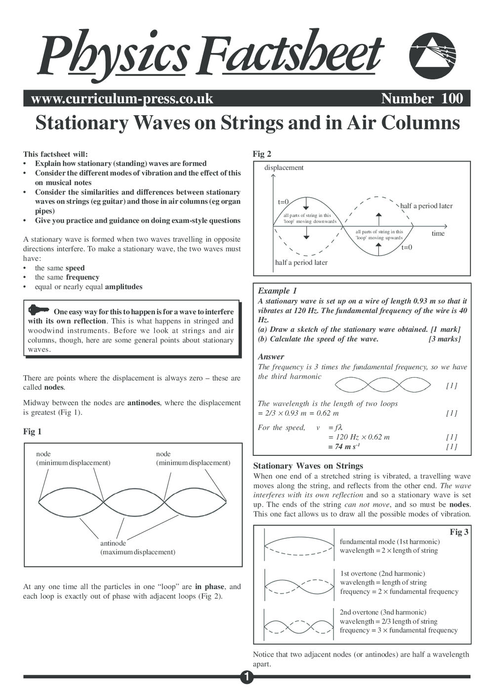 Stationary Waves On Strings and in Air Columns - Curriculum
