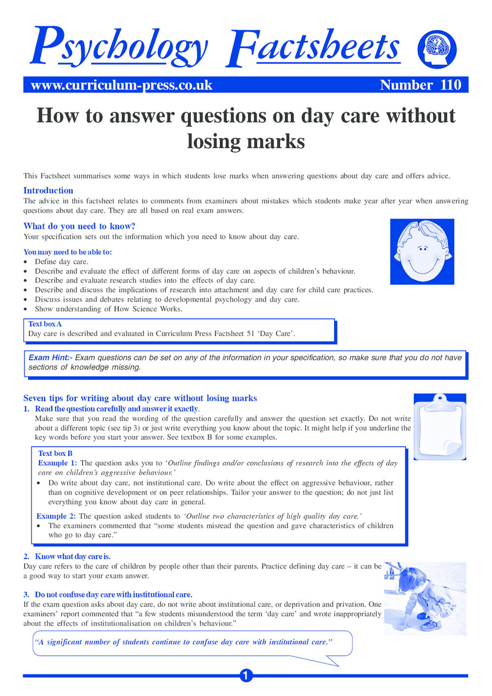 Curriculum Press - How to Answer Questions on Day Care Without