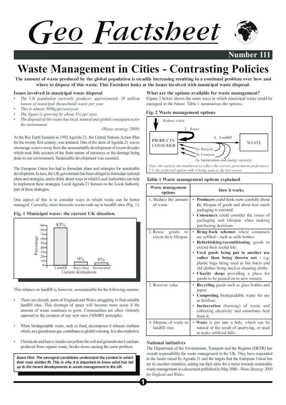 Waste Management in Cities – Contrasting Policies