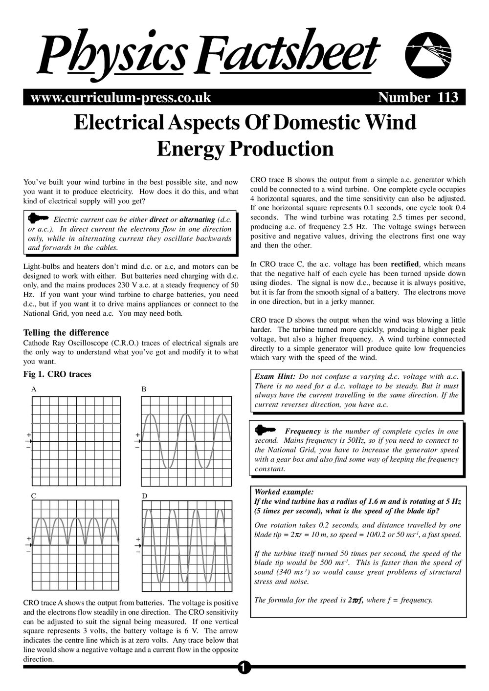 Electrical Aspects Of Domestic Wind Energy Production Curriculum Press Cro Cathode Ray Oscilloscope