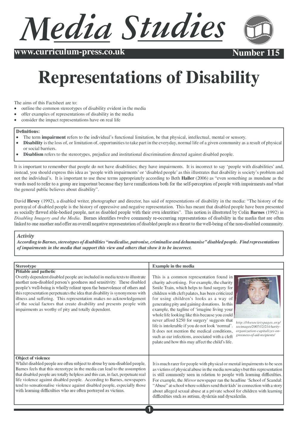 115 Representations Of Disability