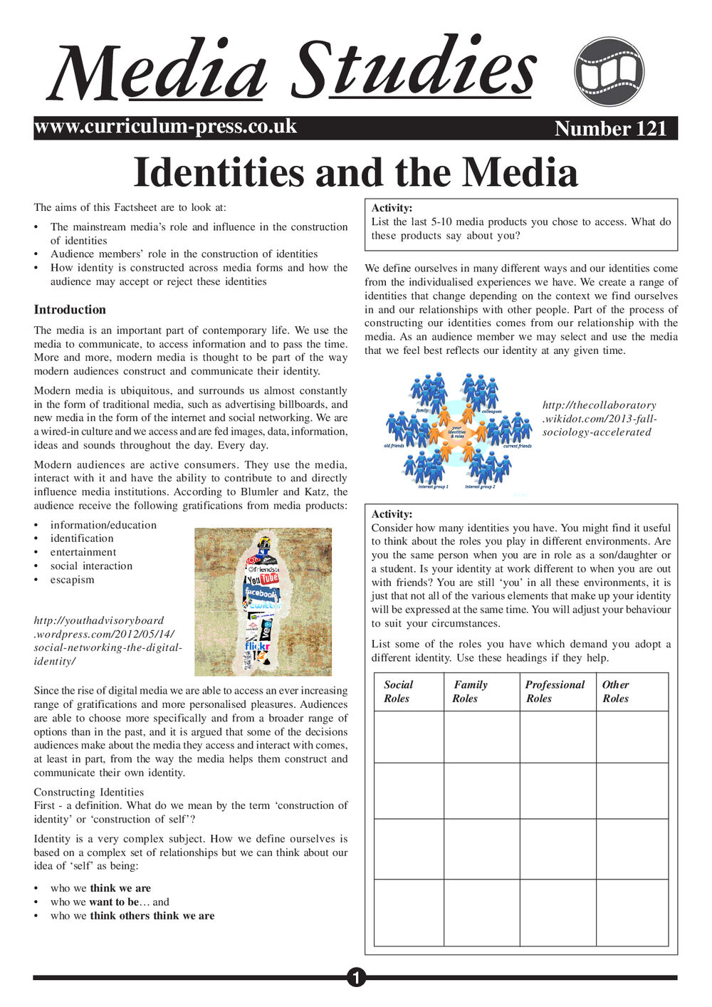 121 Identities And The Media