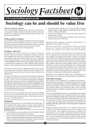 128 Sociology   Value Free