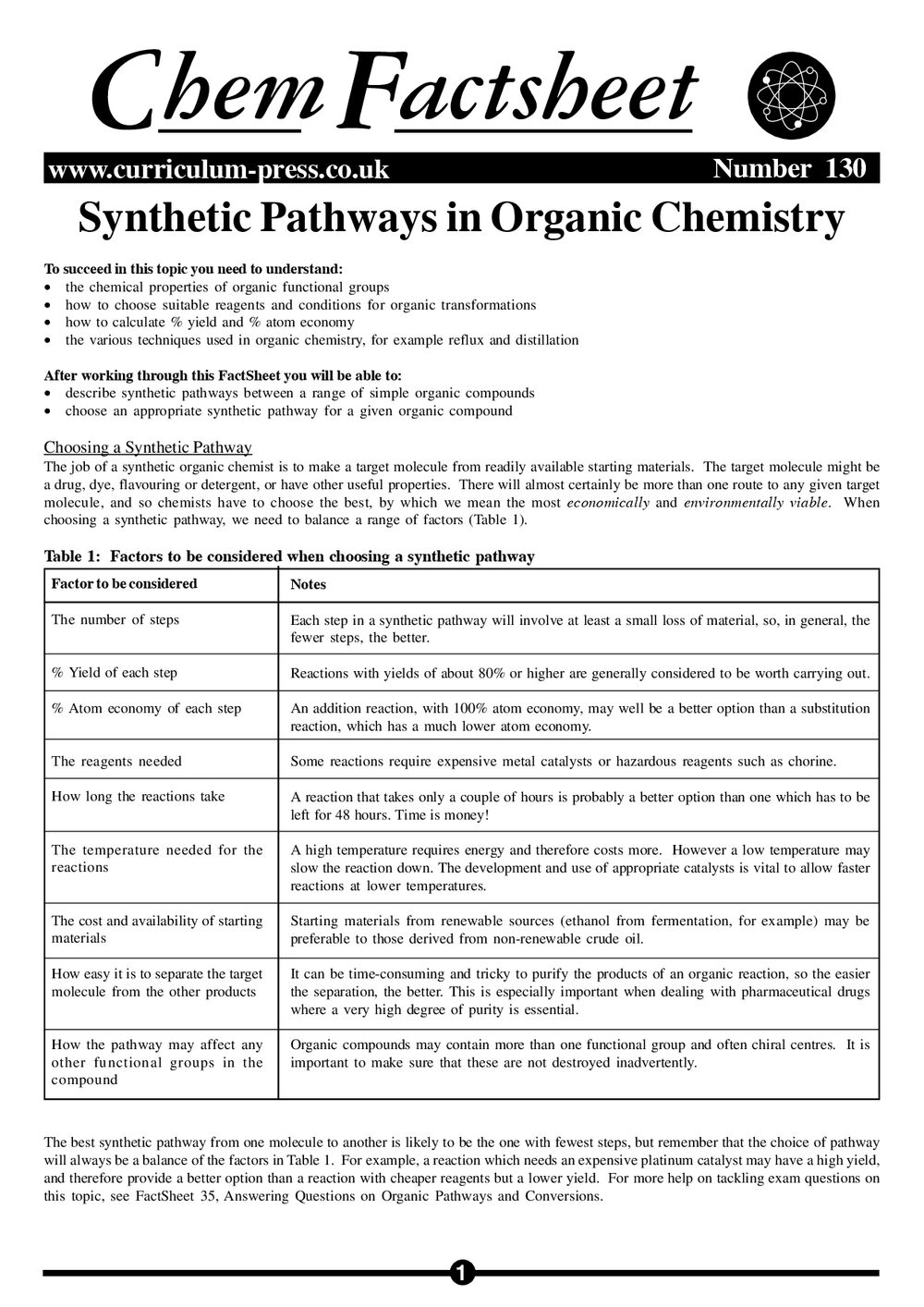 Synthetic Pathways in Organic Chemistry - Curriculum Press