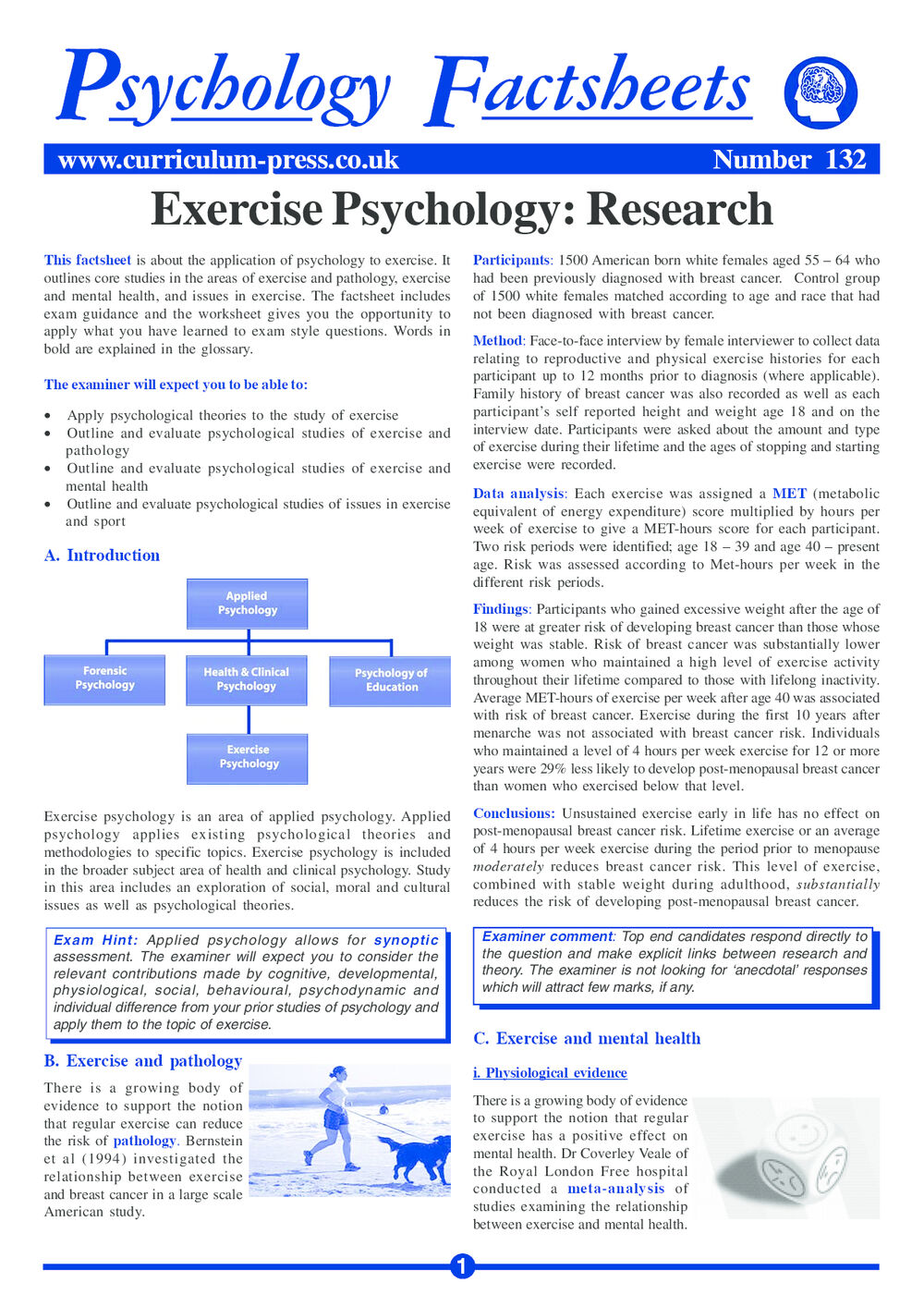 Curriculum Press Exercise Psychology Research