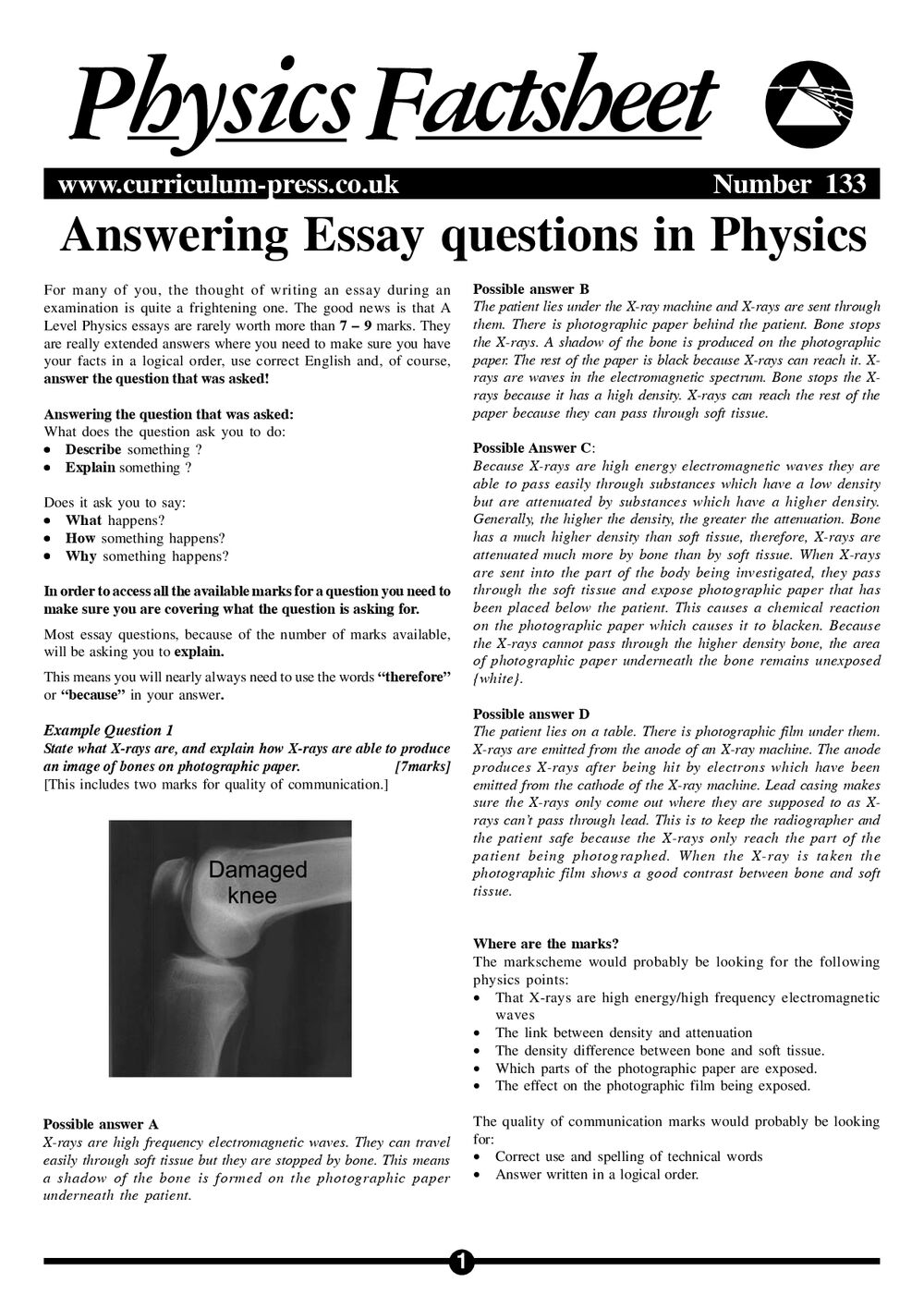 Answering Essay Questions in Physics - Curriculum Press