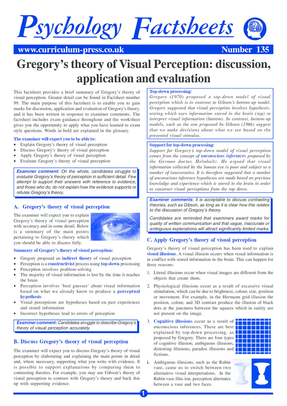 Curriculum Press - Gregory's Theory of Visual Perception