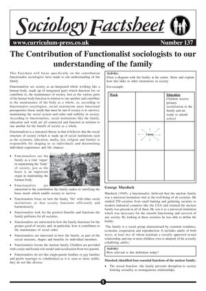 137 The Contribution Of Functionalist Sociologists To Our Understanding Of The Family