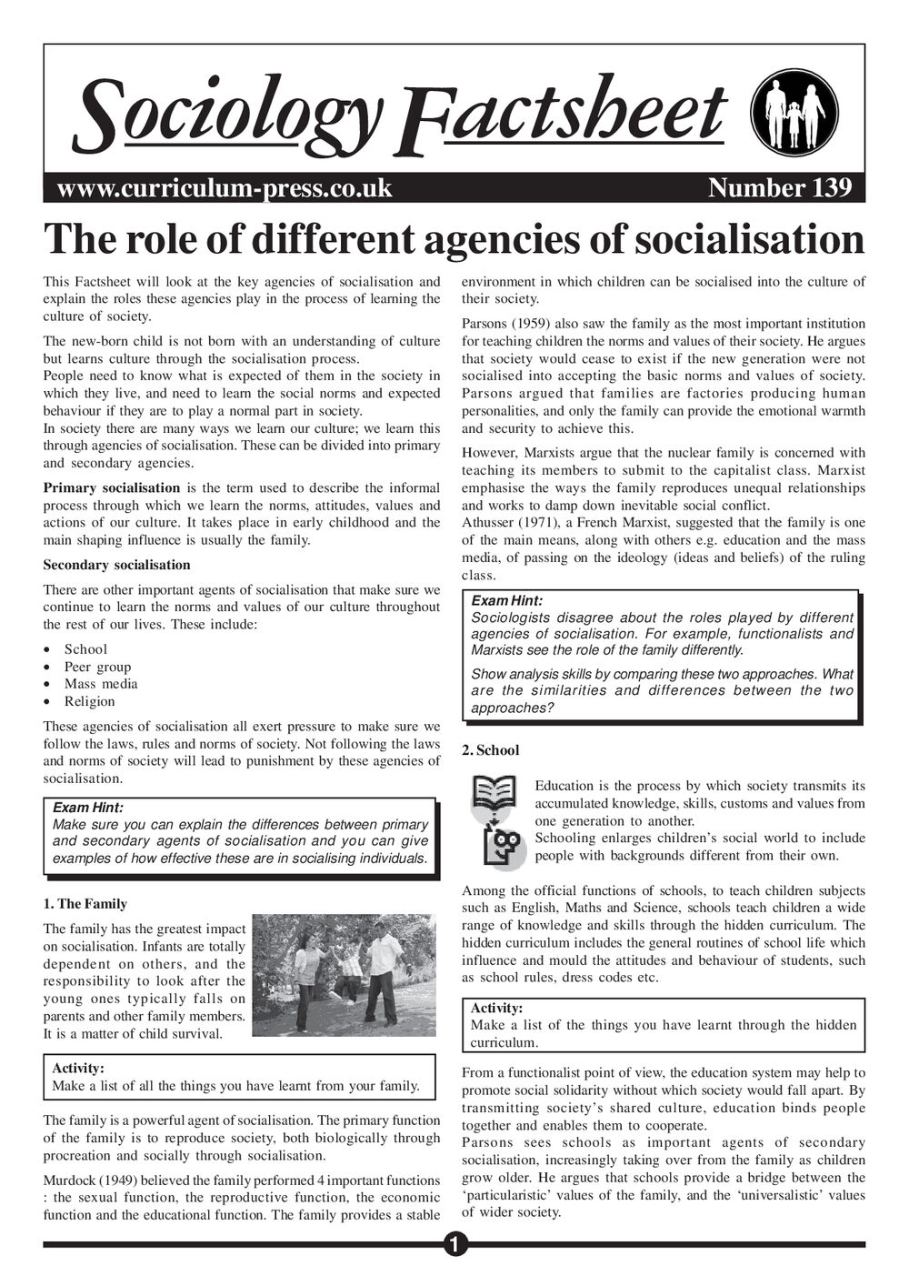 139 The Role Of Different Agencies Of Socialisation