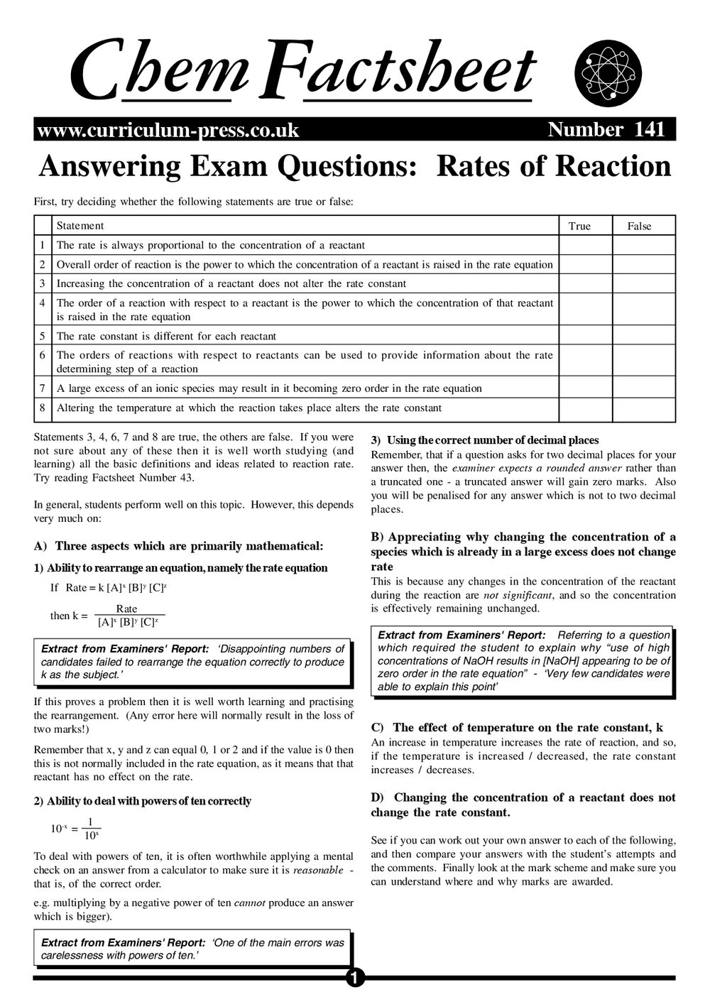 Answering Exam Questions: Rates of Reaction - Curriculum Press