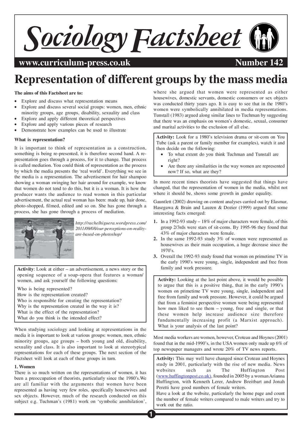 142 Representation Of Different Groups By The Mass Media