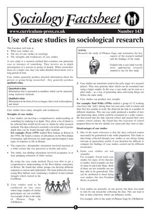 143 Case Studies In Sociological Research
