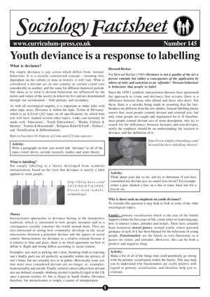 145 Youth Deviance Is A Response To Labelling