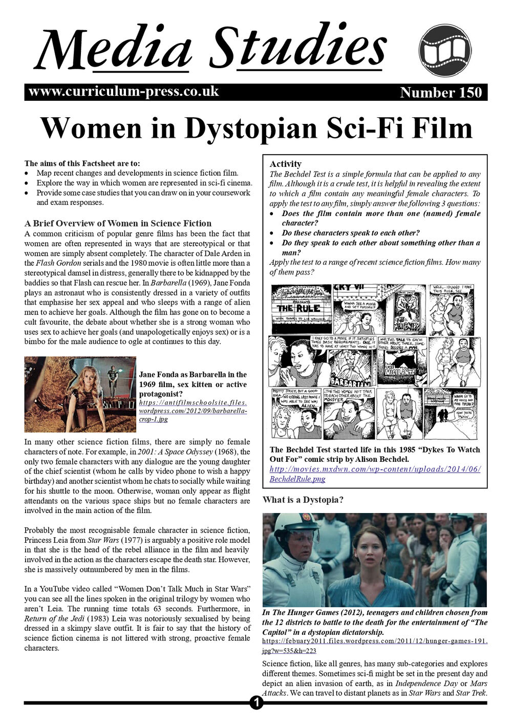 Curriculum Press Women In Dystopian Sci Fi Film