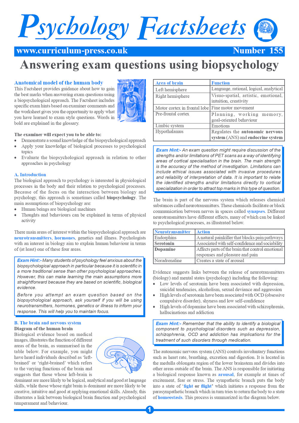 Curriculum Press - Answering Exam Questions Using Biopsychology