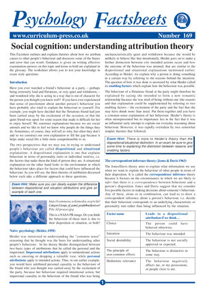 169 Social Cognition Understanding Attribution Theory