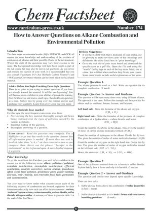 174 Qs Alkane Combustion