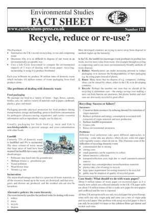 175 Recycle, Reduce Or Re Use