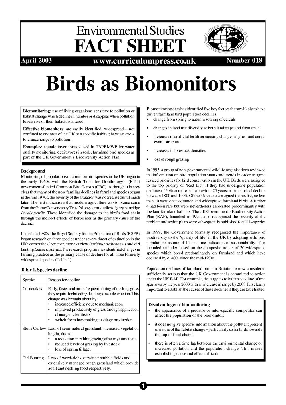 18 Birds As Biomonitors