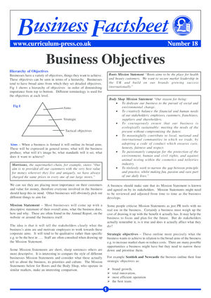 18 Business Objectives
