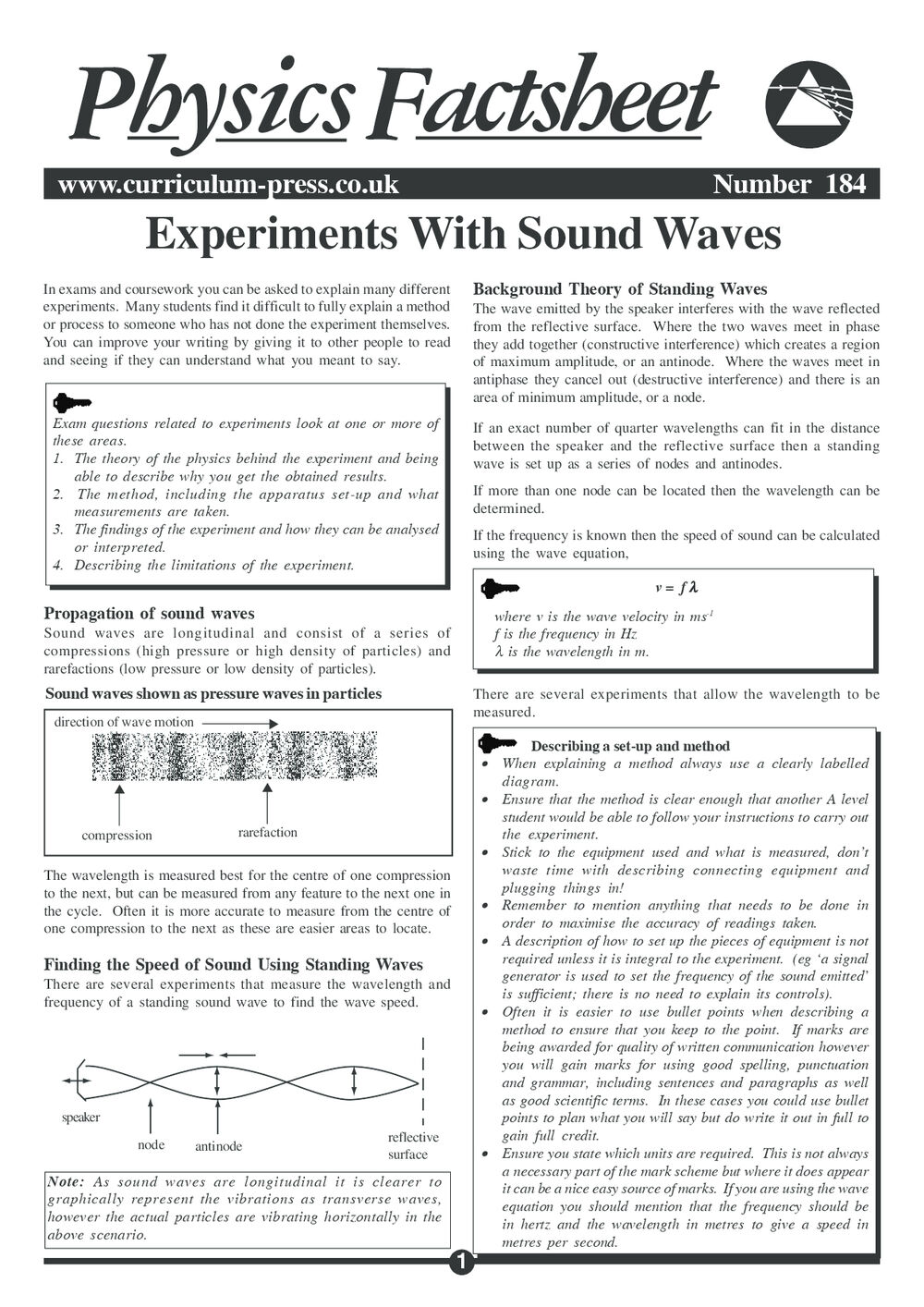 Experiments with Sound Waves - Curriculum Press
