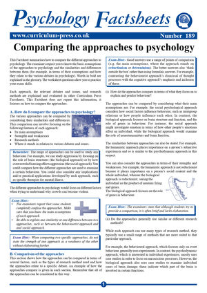 189 Approaches To Psychology