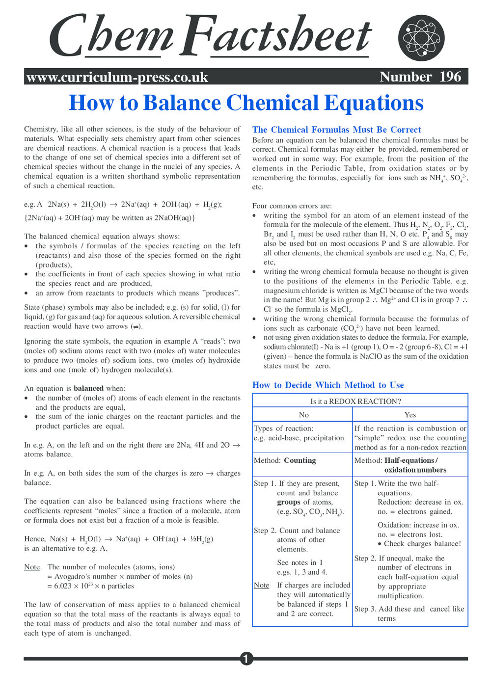 How to Balance Chemical Equations - Curriculum Press