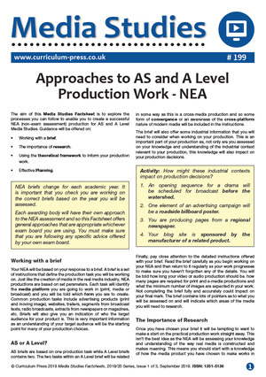 199 Approaches to AS and A Level Production Work