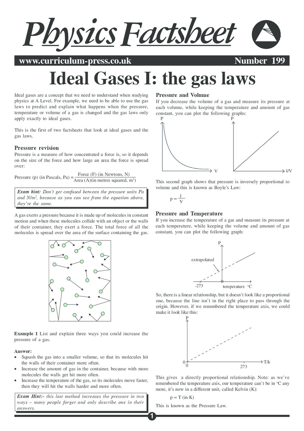 Ideal Gases I: the Gas Laws - Curriculum Press