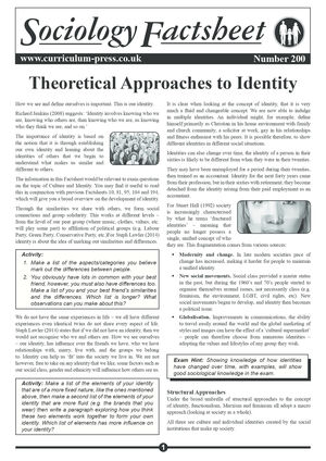 200 Theoretical Approaches To Identity