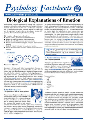 202 Biological Explanations Of Emotion