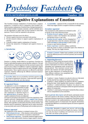 203 Cognitive Explanations Of Emotion
