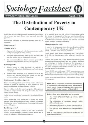 203 The Distribution Of Poverty In Contemporary Uk